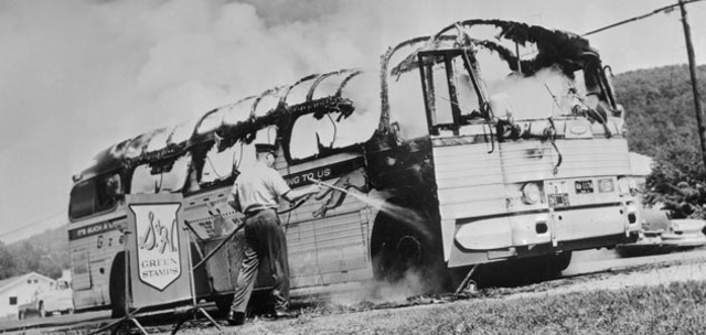 The arrest of the Freedom Riders in the South.