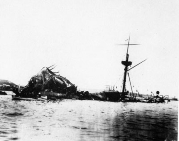 The USS Maine explodes in Havana Harbor