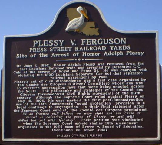 Supreme Court decides on Plessy v. Ferguson