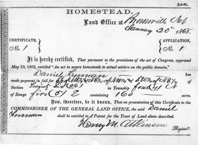 Lincoln signs the Homestead Act of 1862