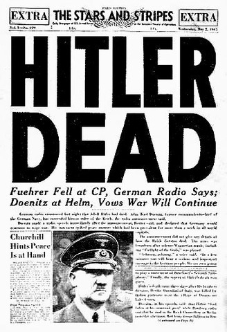 Adolf Hitler committed suicide by gunshot on 30 April 1945 in his Führerbunker in Berlin.[1][2][3] His wife Eva (née Braun), committed suicide with him by ingesting cyanide