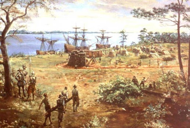 English colonists land at Jamestown