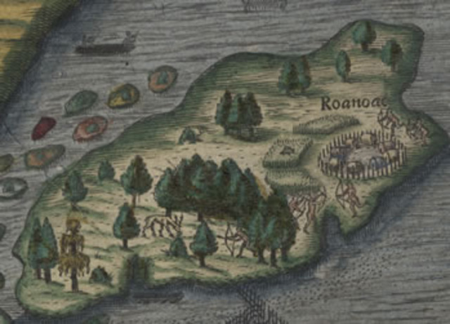 Sir Walter Raleigh's colonists land on Roanoke Island