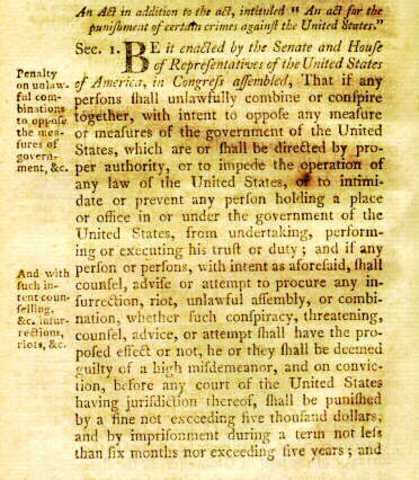 Allen and Sedition Acts, War with France threatened