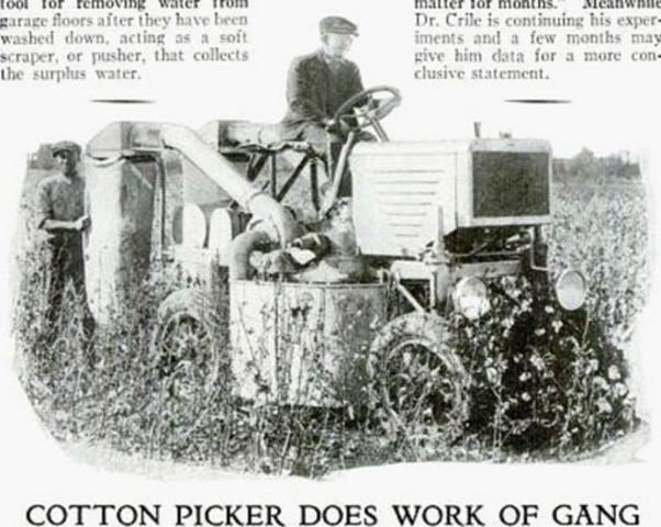Mechanical Cotton Picker Invented