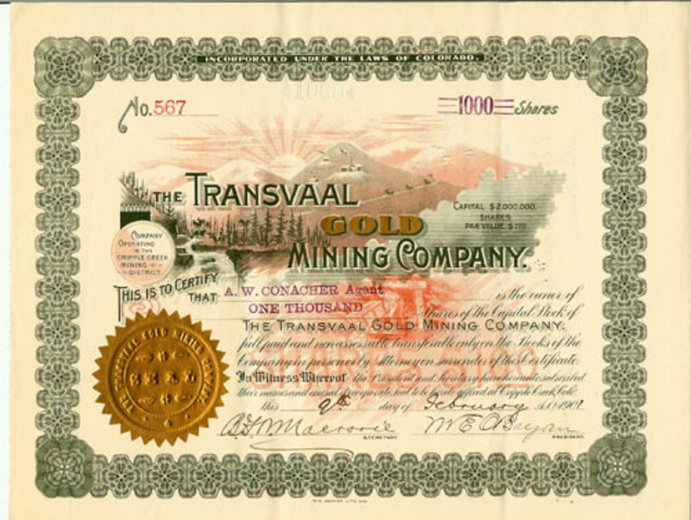 Gold in Transvaal