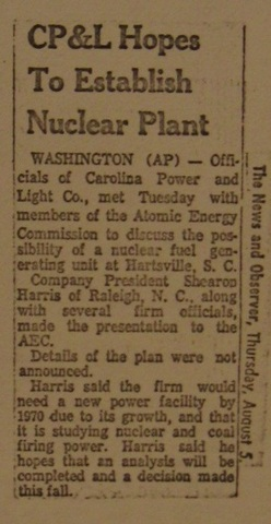 """CP&L hopes to establish nuclear plant"""