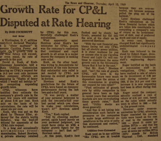 """""""Growth Rate for CP&L Disputed at Rate Hearing"""""""