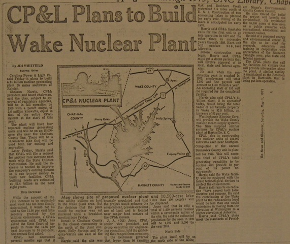 """""""CP&L Plans to Build Wake Nuclear Plant"""""""