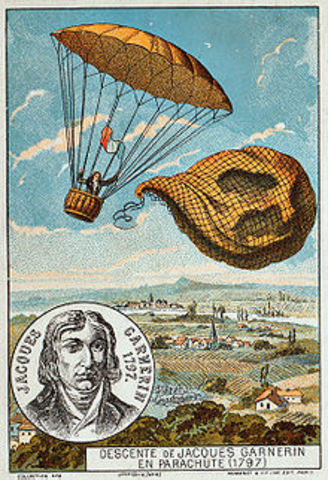 The first human parachute descent, from a balloon