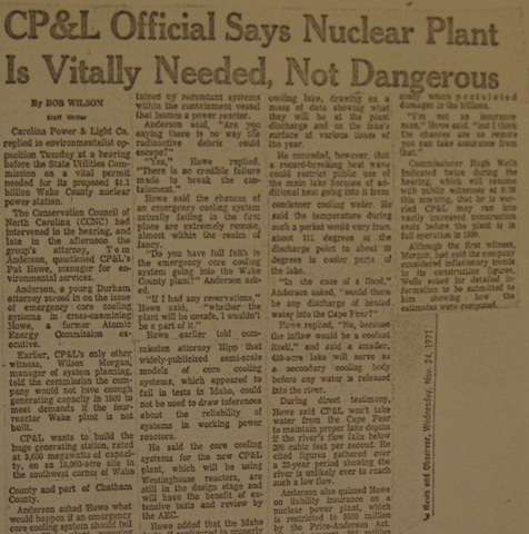 """""""CP&L Official Says Nuclear Plant is Vitally Needed, Not Dangerous"""""""