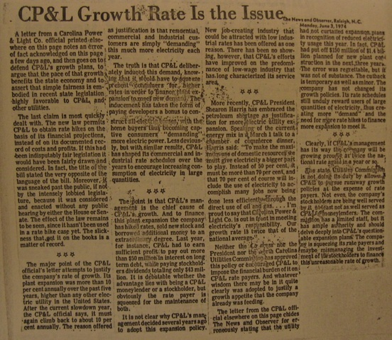 """""""CP&L Growth Rate Is the Issue"""""""