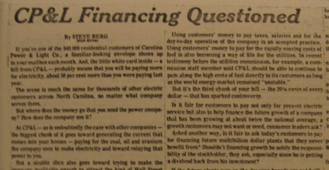 """""""CP&L Financing Questioned"""""""