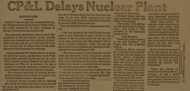 """""""CP&L Delays Nuclear Plant"""""""