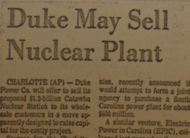 """""""Duke May Sell Nuclear Plant"""""""