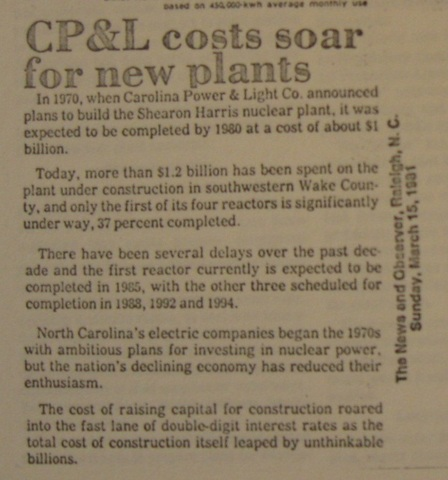 """""""CP&L Costs Soar for New Plant"""""""
