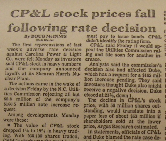 """""""CP&L Stock Prices Fall Following Rate Decision"""""""