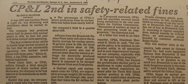 """""""CP&L 2nd in Safety-Related Fines"""""""