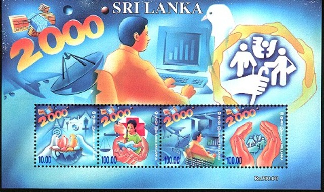 •Sri Lanka issues a series of postage stamps on the Year 2000, a 100-rupee stamp depicting a personal computer and a 100-rupee stamp depicting a man at a computer