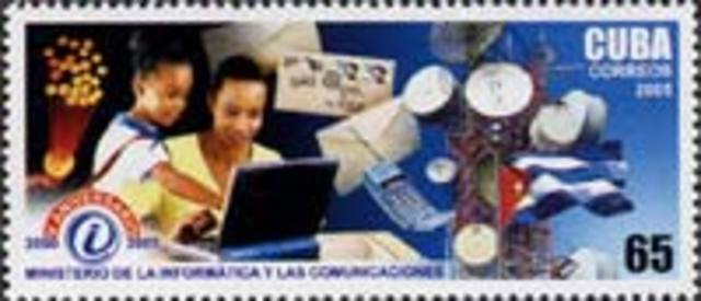 Cuba issues a 65 centavos postage stamp depicting a laptop computer