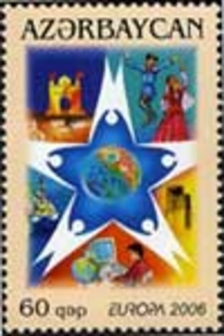Azerbaijan issues a postage stamp depicting a man at a personal computer