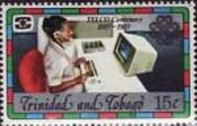 Trinidad and Tobago issue a stamp depicting a woman working at a computer terminal