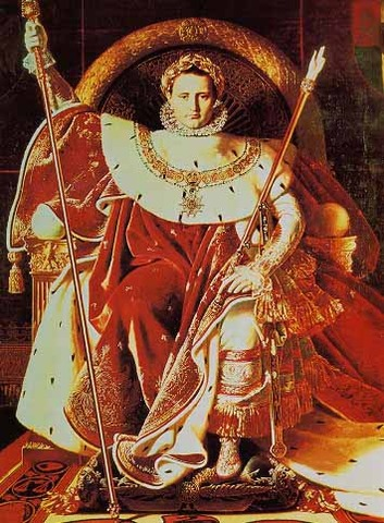 Napoleon crowns himself Emperor, in the company of the Pope.