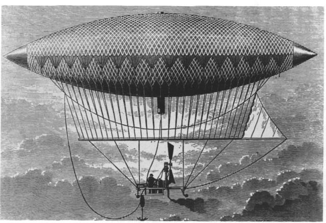 Henri Giffard's steam-powered airship makes first flight.