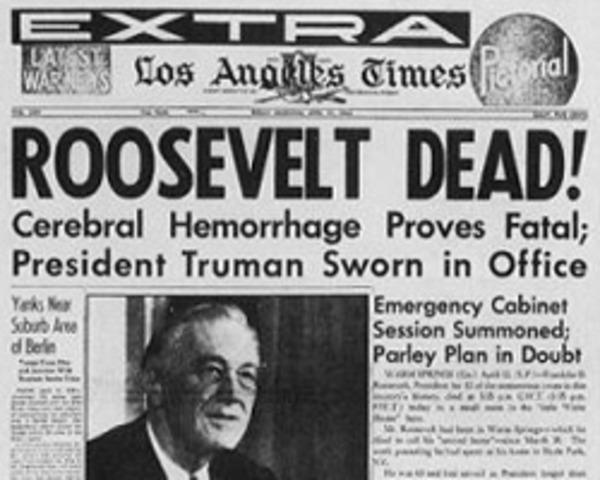 President Roosevelt Died