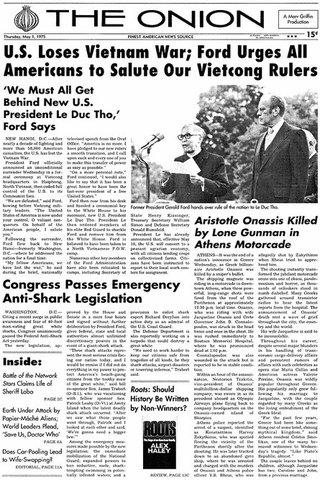 North Vietnam defeats South Vietnam which falls to Communist forces