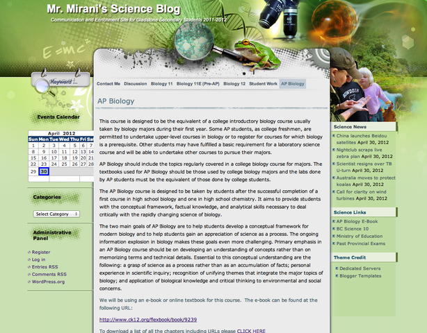 Introduction of Class Blog and E-Textbook to AP Biology Classes