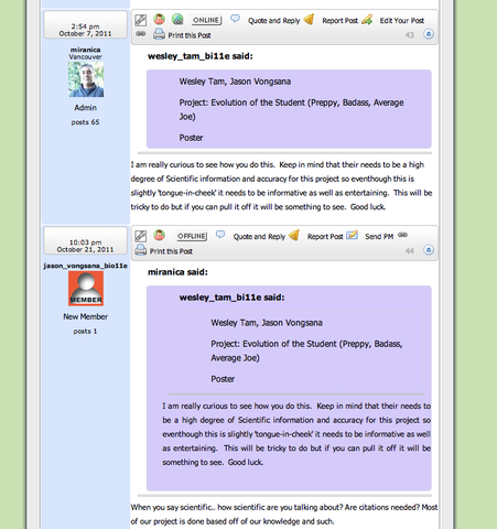 Using Class Discussion Board to submit Evolution Project Proposals