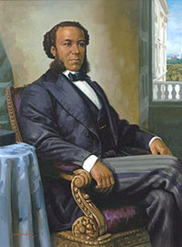 Joseph H. Rainey, first black member sworn in as member of U. S. House of Representatives.