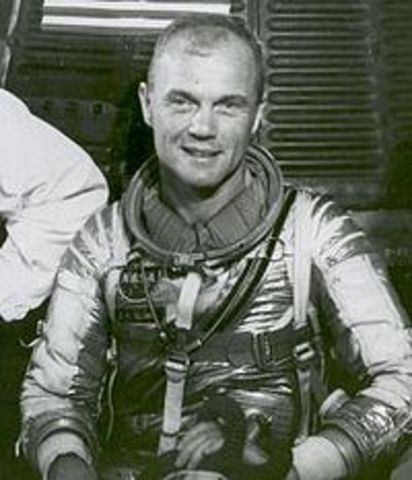 First astronaunt in orbit.