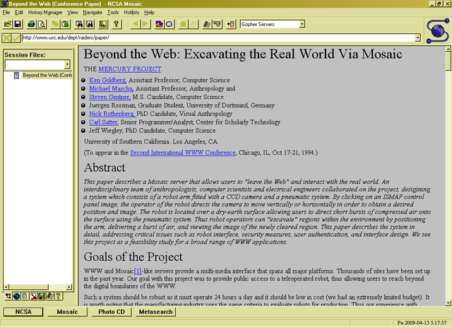 First widely used browser (Mosaic)