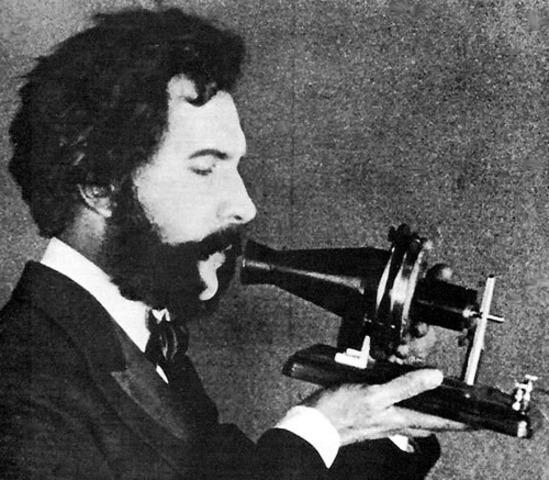 Alexander Graham Bell makes first telephone