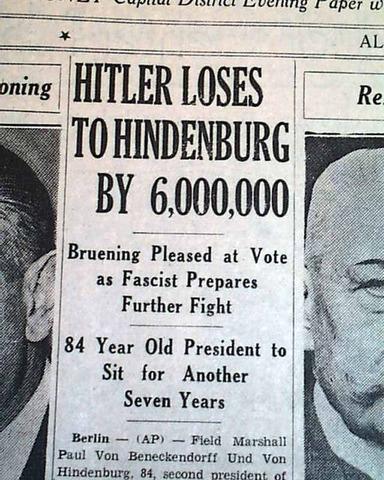 Paul von Hindenberg is re-elected