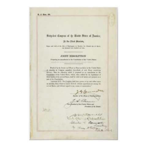 Sixteenth Amendment is added to the Constitution