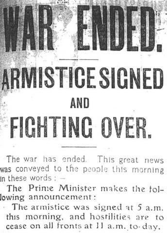 Armistice Signed - End of World War 1