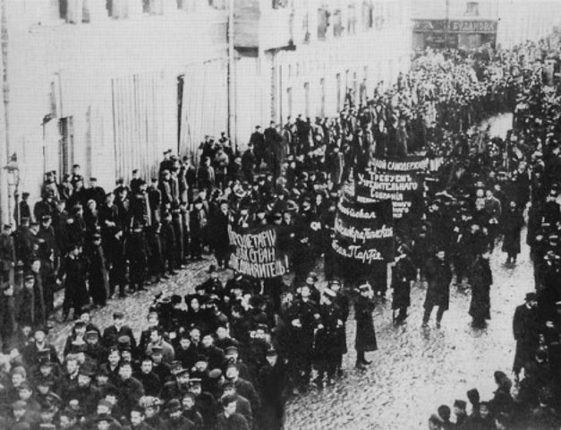 Riots begin in St Petersburg after their original uprising against the Tsar in February.