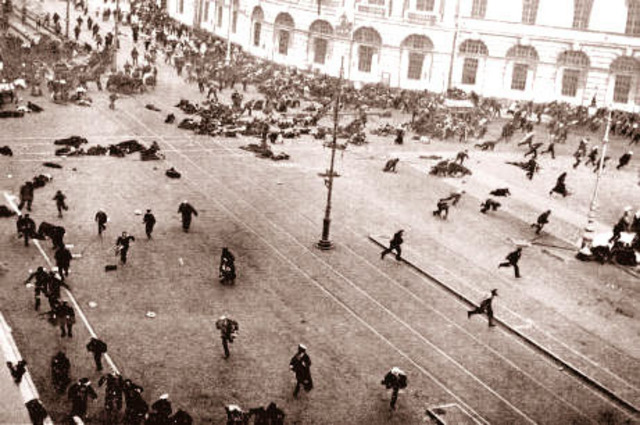 The Tsar of Russia orders soldiers to fire into the crowd of rioters