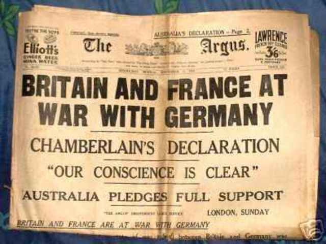 Britain, France, Australia, and New Zealand declare war on Germany