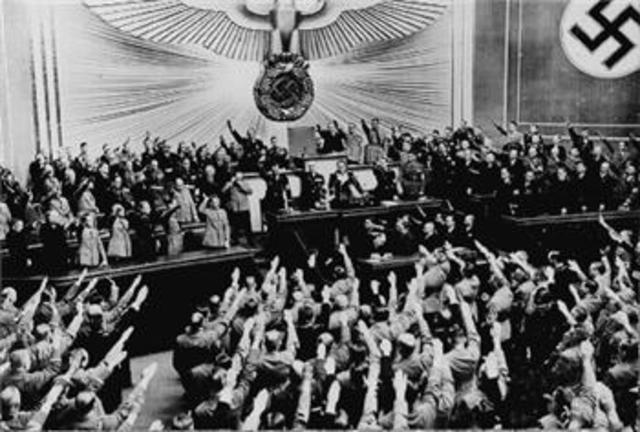 Germany announces 'Anschluss' (union) with Austria.