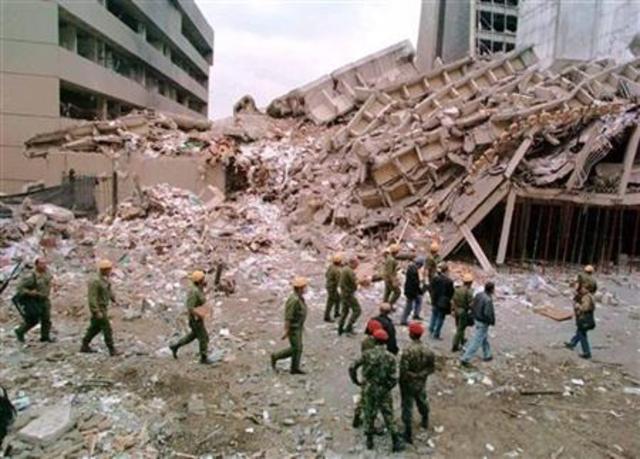 Bombinbs in Tanzania and Kenya.