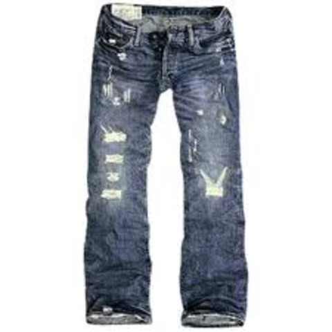 Fashion and Entertainment: worn, ripped-up jeans
