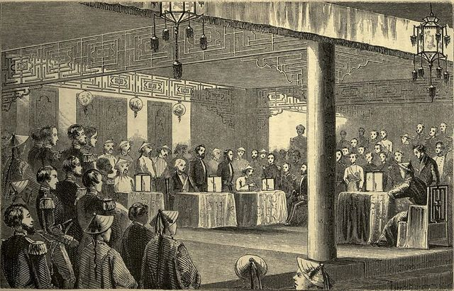 Chinese government negotiates the Treaties of Tanjin