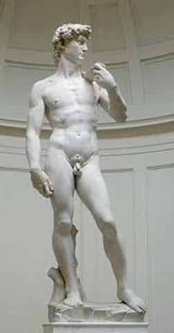 Michelangelo's David is unveiled in Florence.