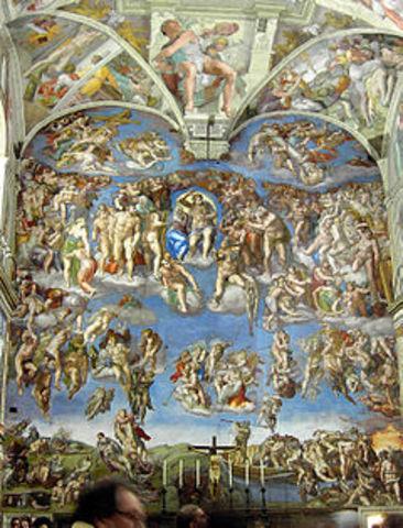 "Michelangelo Buonarroti's paints ""last judgement"" in 16th Chapel"