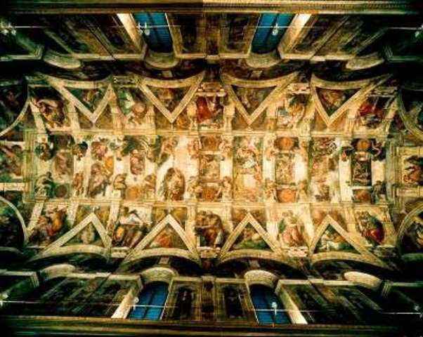 Michelangelo's paintings on ceiling of Sistine Chapel, 1st exhibited