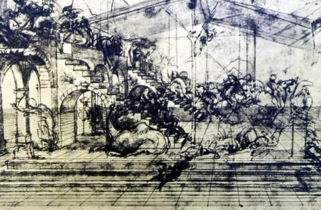 """Léonard de Vinci - Esquisse pour """"L'adoration des Mages"""""""